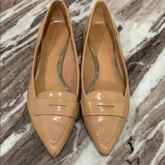 Coach Tabitha pointed toe flats nude patent
